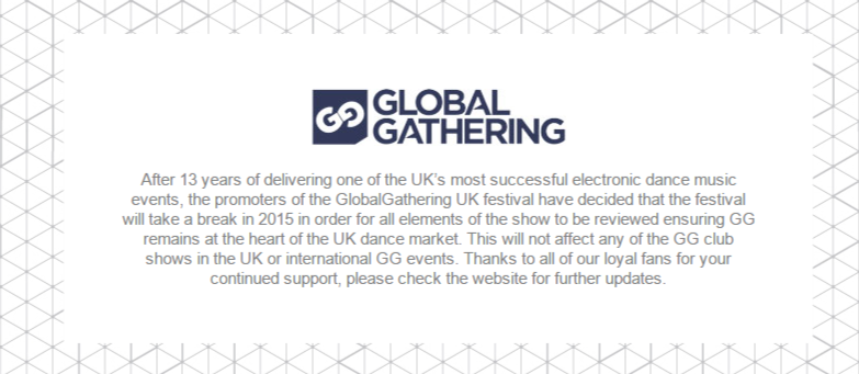 Global Gathering UK 2015 отменен!